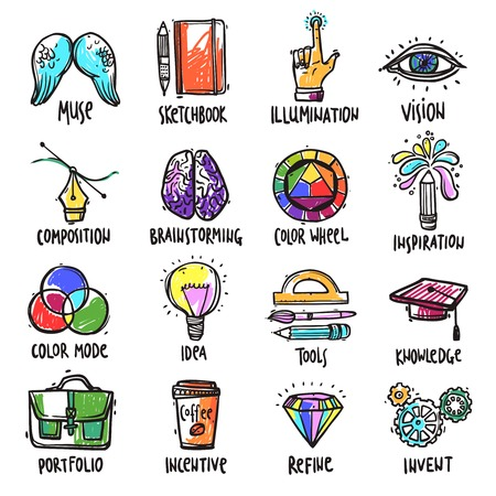 Creative process hand drawn icons set with brainstorming correction portfolio isolated vector illustration