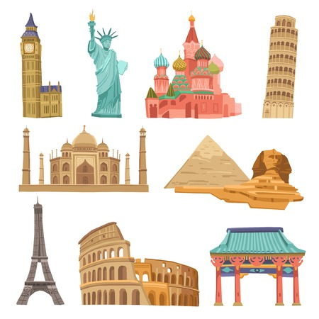 world travel: World landmarks flat icons decorative set with colosseum taj mahal pisa tower isolated vector illustration