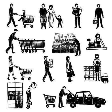 carro supermercado: Dibujado a mano las personas que hacen compras en supermercados iconos decorativos negros conjunto aislado ilustración vectorial Vectores