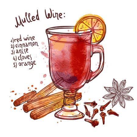 vin chaud: Vin chaud sertie de verre de boisson et des ingr�dients dessin�s � la main illustration vectorielle