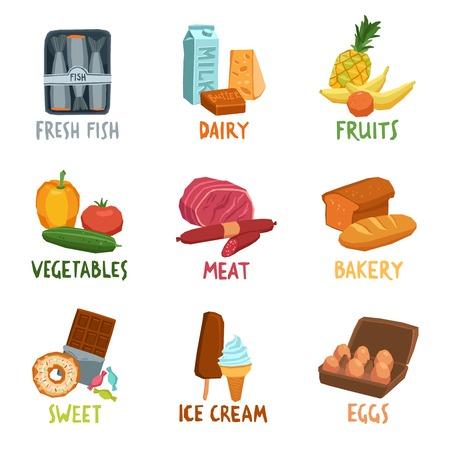 Food flat decorative icons set with fresh fish dairy fruits isolated vector illustration Illustration
