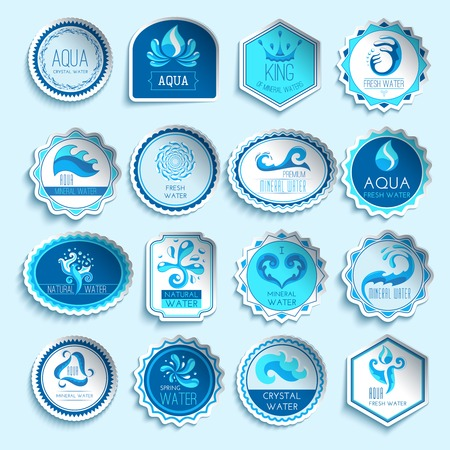 splash pool: Fresh mineral water paper sticker labels set isolated vector illustration