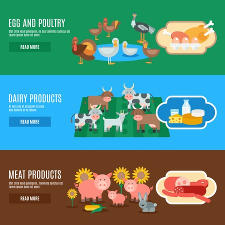 dairy farm: Domestic animals horizontal banner set with egg meat dairy products elements isolated vector illustration