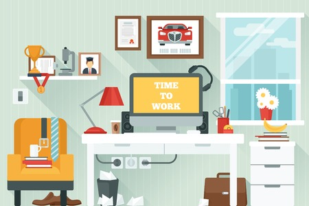 study icon: Workspace in room with flat work study and interior icons vector illustration Illustration