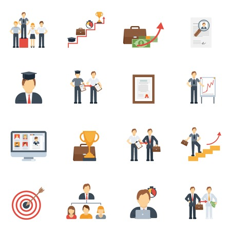 achievements: Business career success ladder achievement icons flat set isolated vector illustration