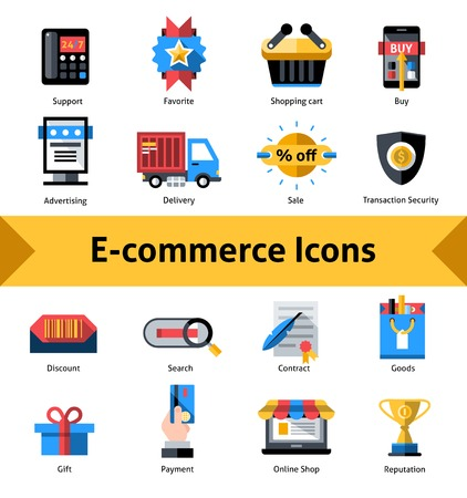 E-commerce commercial security and online shopping icons set isolated vector illustration Illustration