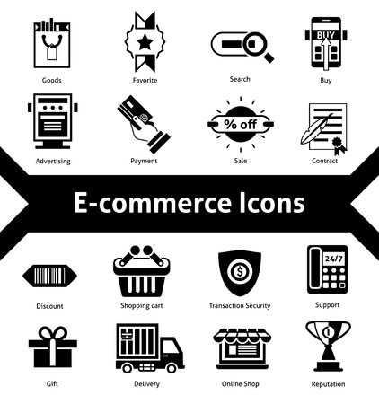 E-commerce icons black set with advertising payment transaction security isolated vector illustration