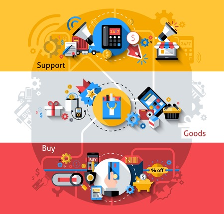 online advertising: E-commerce horizontal banners set with support goods buying elements isolated vector illustration