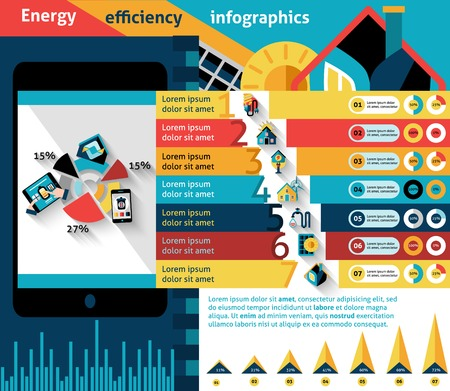 houses on water: Energy efficiency infographics set with effective house control charts vector illustration Illustration