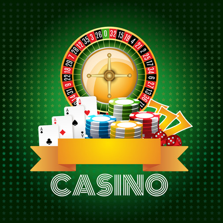 Casino club poster print with roulette aces set and chips on green background flat abstract vector illustration Illustration