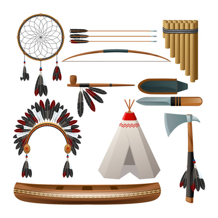teepee: Ethnic american indigenous tribal culture decorative set isolated vector illustration