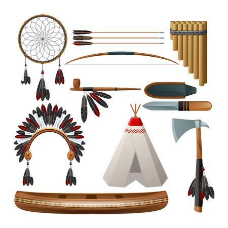 pipe dream: �tnico americano aislado cultura tribal ind�gena conjunto decorativo ilustraci�n vectorial