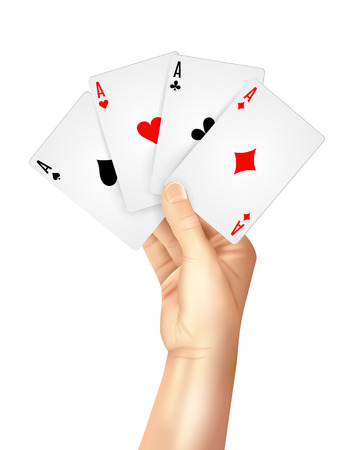 ace of diamonds: Gambling entertainment business decorative poster print with high hand holding four playing cards aces abstract vector illustration