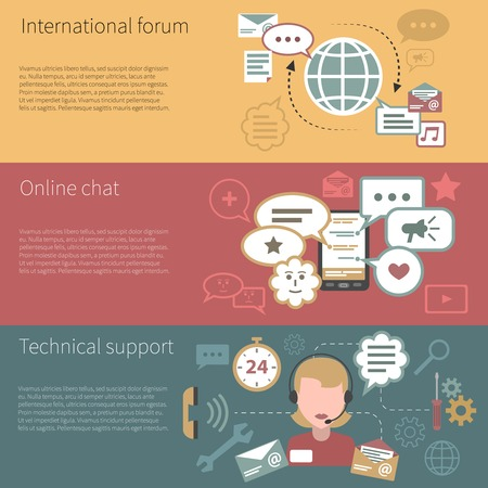 forums: Chat banner horizontal set with international forum online technical support elements isolated vector illustration