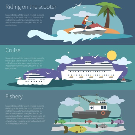 fishery: Ship banner horizontal set with scooter cruise and fishery boat isolated vector illustration