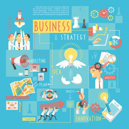 Plan de negocios esquema estratégico de inicio con elementos infografía póster de comercialización analizar el trabajo en equipo dibujo abstracto ilustración vectorial Ilustración de vector