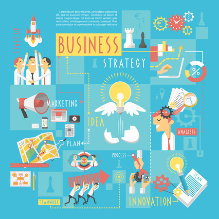 teamwork cartoon: Startup business plan strategic schema with infographic elements poster of marketing analyzing  teamwork abstract sketch vector illustration