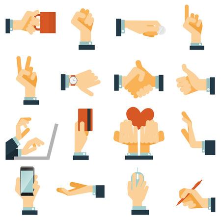 manos: Gestos de mano iconos planos set expresando rechazo victoria y amor con s�mbolo del coraz�n abstracto vector ilustraci�n aislada