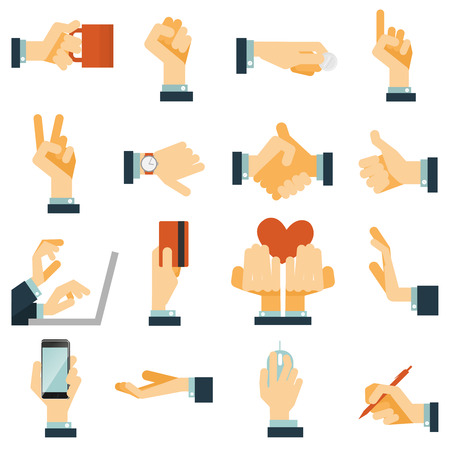 hand holding smart phone: Hand gestures flat icons set expressing victory rejection and love with heart symbol abstract vector isolated illustration