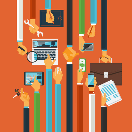 collaboration: Long hands characters keys to teamwork success production process concept with computers poster flat abstract vector illustration
