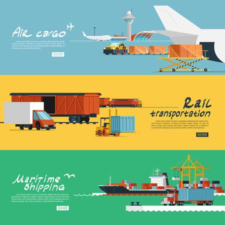 Concepto Logístico banderas planas conjunto de ferrocarril y transporte aéreo servicios de entrega marítimas abstracto aislado ilustración vectorial