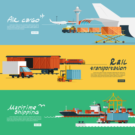 and the air: Logistic concept flat banners set of maritime rail and air transport delivery services abstract isolated vector illustration