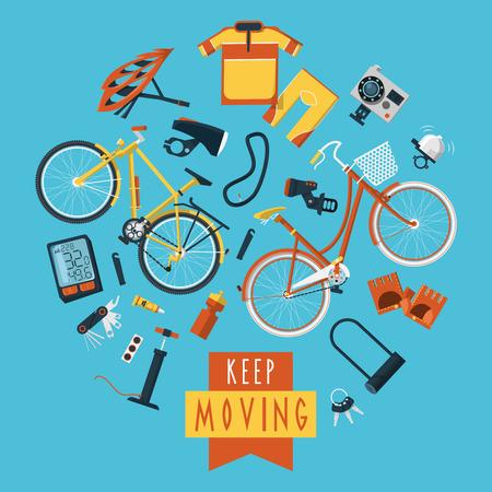 Fietsen sportkleding en accessoires voor actieve gezonde levensstijl vlakke pictogrammen samenstelling cirkel druk poster abstracte illustratie