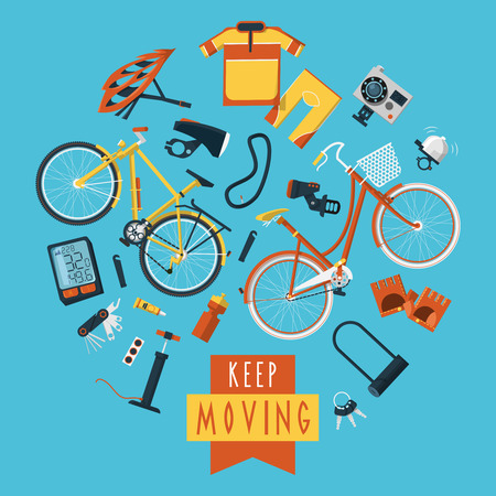 bomba de agua: Ropa deportiva Ciclismo y accesorios para la impresi�n del cartel estilo de vida saludable plana iconos c�rculo composici�n activa resumen ilustraci�n vectorial