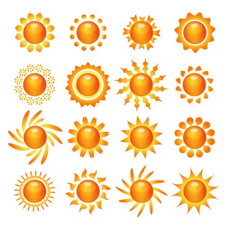 enlightening: Funny bright sun symbol pictograms collection for decoration and expressing mood and emotion abstract isolated vector illustration