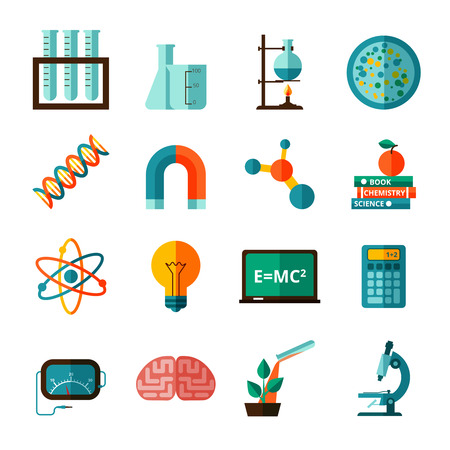 science icons: Bio chemistry experimental science laboratory research flat icons collection with microscope and retort abstract isolated vector illustration Illustration