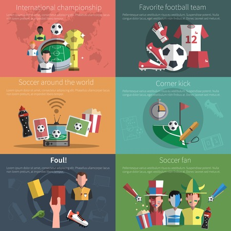 Soccer mini poster set with world championship football fan elements isolated vector illustration