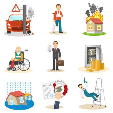 accidente trabajo: Seguros y eventos asegurados riesgo iconos planos establecidos en el fondo aislado blanco ilustración vectorial Vectores