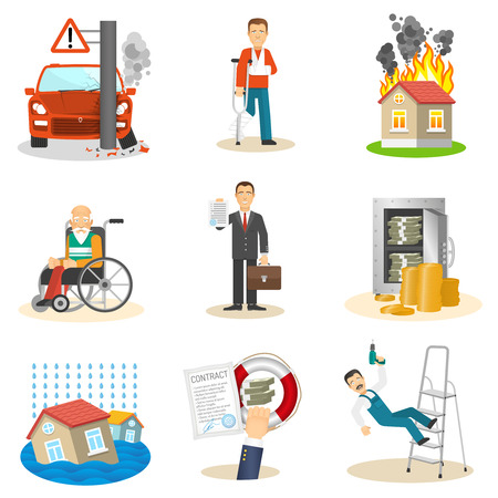 Verzekering en risico verzekerd evenement vlakke pictogrammen instellen op een witte achtergrond geïsoleerde vector illustratie Stockfoto - 40282829