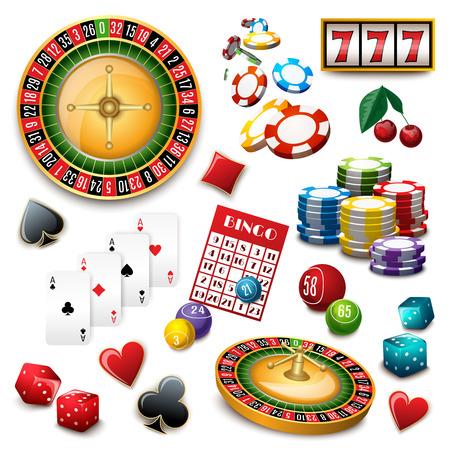 bingo: Casino de juego popular cartel composición juegos online símbolos con tarjetas de ruleta cubierta y bingo abstracto ilustración vectorial