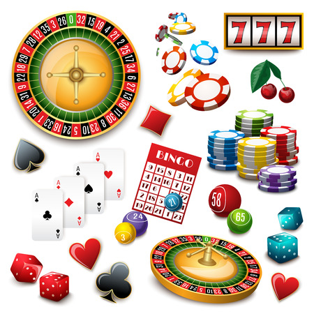 cards poker: Casino popular gambling online games symbols composition poster with roulette cards deck and bingo abstract vector illustration