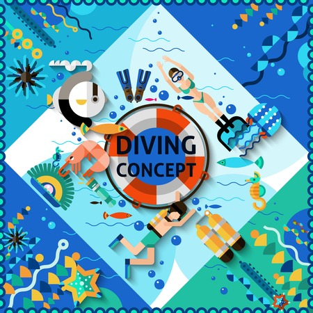lifejacket: Scuba diving concept with diver and underwater life icons vector illustration