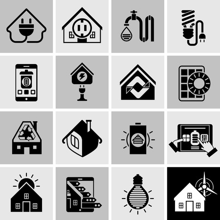 power supply: Energy efficiency house power supply system icons black set isolated vector illustration