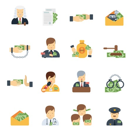 Corruption in business government and police icons flat set isolated vector illustration
