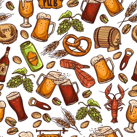 beer barrel: Beer seamless pattern with hand drawn drink elements vector illustration