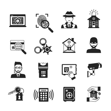 Security safety and alarm system icons black set isolated vector illustration