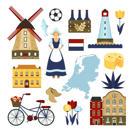 Netherlands symbols set with windmills  bicycle cheese isolated vector illustration