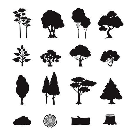 arbol de pino: Elementos forestales iconos negros fijaron con árboles de registro muñón aislado ilustración vectorial Vectores
