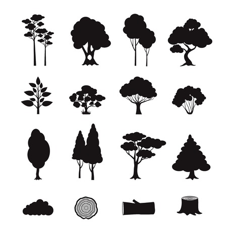 pine trees: Forest elements black icons set with stump log trees isolated vector illustration