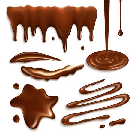 jarabe: Gotas de chocolate con leche líquida y salpicaduras elementos decorativos conjunto ilustración vectorial aislado Vectores