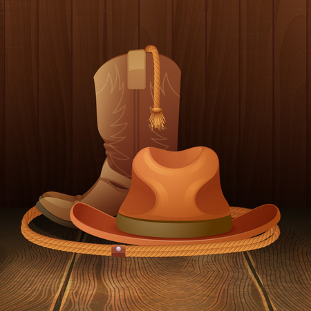 rodeo cowboy: Cowboy hat boots and lasso on wooden background poster vector illustration