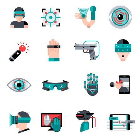 Dispositifs de réalité augmentée et les applications logicielles virtuelles icons set isolé illustration vectorielle