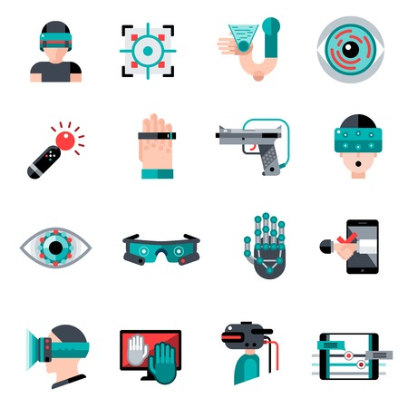 Virtual augmented reality devices and software apps icons set isolated vector illustration Illustration
