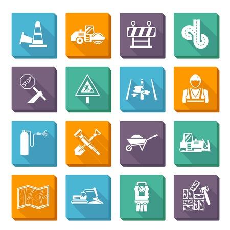 道路ワーカー フラット アイコン建設用具および機械分離ベクトル イラスト セット  イラスト・ベクター素材