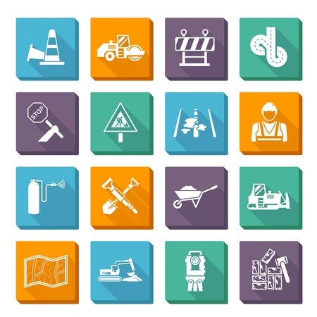 Road worker flat icons set with construction tools and machines isolated vector illustration