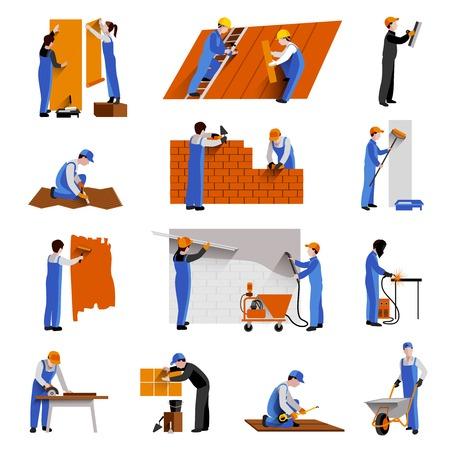 obreros trabajando: Trabajadores constructor ingenieros y t�cnicos iconos conjunto aislado ilustraci�n vectorial